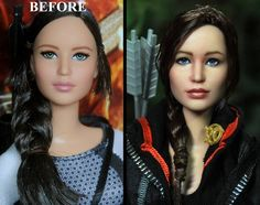 Somehow, he managed to make a shop-bought Barbie doll look just like Katniss Everdeen. | This Artist Made A Barbie Doll Look Just Like Jennifer Lawrence And Sold It For Thousands Of Dollars