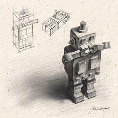 Sketchbook Drawings, Pencil Art Drawings, Art Sketches, Sketching, Still Life Sketch, Still Life Drawing, Geometric Shapes Art, Vintage Robots, Perspective Art