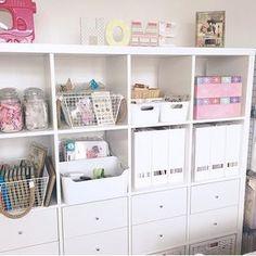 Love this IKEA #kallax unit for craft room storage!   @rosemarymerry