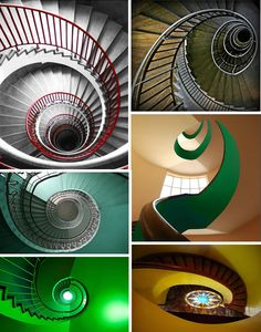 "step Step STEP The red and white swirl was built in 1930 and is located within a skyscraper in Ljubljana, Slovenia. The photo at the upper right was taken within a hotel in Helsinki, Finland. On the middle left is the Emerald Spiral. It is located in Prague close to one of the ""most dangerous"" streets in Warsaw, Poland.The top right is called The Green Snake. The bottom green spiral staircase was snapped in Munich. The bottom right photo is from the first floor looking up, somewhere in Rome."