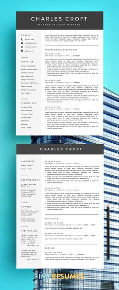 Professional Resume Template - Word \ Page Compatible - Best CV - free resume builder mac