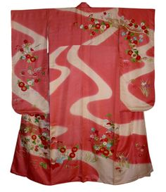 Japanese traditional silk embroidered kimono, 1950's. Japanese ...