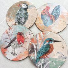 Drink mats. Set of 4 coasters. Bird art by carlaJ | Etsy