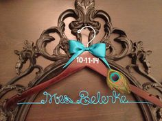 PEACOCK Bridal Hanger / Personalized Wedding Hanger / by GetHungUp, $36.00