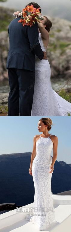 Mermaid Wedding Dresses Long White Wedding Dresses Elegant, Lace Wedding Dresses Beautiful, Senior Wedding Dresses Open Back Wedding Dress Train, Modest Wedding Dresses, Elegant Wedding Dress, Simple Dresses, Cheap Dresses, Women's Dresses, Cute Dresses, Lace Wedding, Formal Dresses Online