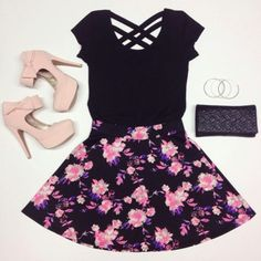 T-shirt: socks, bows, heels, skirt, floral, girly, summer outfits ...