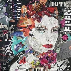Happy Rebel 18 x18 Available on Daily Paintworks. Torn paper mixed media collage. Nancy Standlee Art Blog: