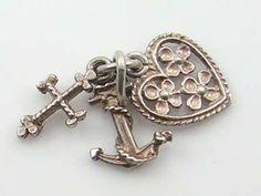 Vintage 3D Silver Faith,Hope & Charity Charm