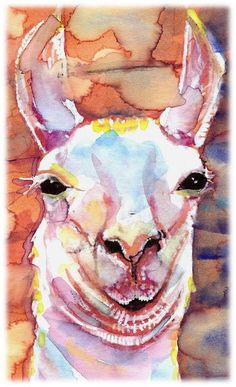 Llama Artist Signed Watercolor Print by CanyonWrensNest on Etsy, $12.99