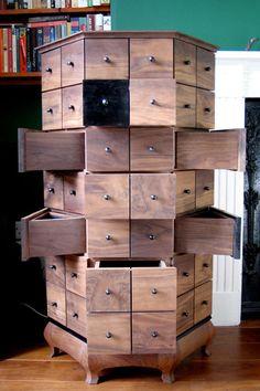 very clever walnut jewellery cabinet