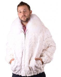 Mens Blue Fox Fur Bomber Jacket 5533 Image | Men's Fur Coats ...