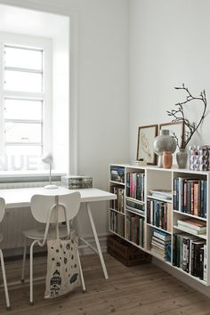office nook. Love the bookshelves