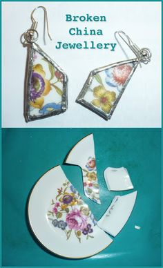 Jewelry Making Earrings Smashed plate Earrings and Jewellery from broken china tutorial. Glass Jewelry, Wire Jewelry, Jewelry Crafts, Handmade Jewelry, Jewlery, Gold Jewelry, Diy Jewelry Recycled Things, Jewelry Dish, Jewelry Ideas