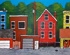 Chicago Alley ORIGINAL ACRYLIC PAINTING 8 x 10 by by MikeKrausArt