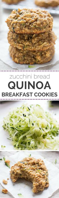 Bread Quinoa Breakfast Cookies Breakfast cookies made with QUINOA that taste like zucchini bread!Breakfast cookies made with QUINOA that taste like zucchini bread! Healthy Cookies, Healthy Treats, Healthy Protein, Quinoa Cookies, Healthy Breakfast Cookies, Zucchini Breakfast, Sugar Free Zucchini Cookies, Zuchinni Cookies, Pumpkin Breakfast Cookies