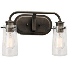 "$143 - Kichler Braelyn 15"" Wide Olde Bronze 2-Light Bath Light"