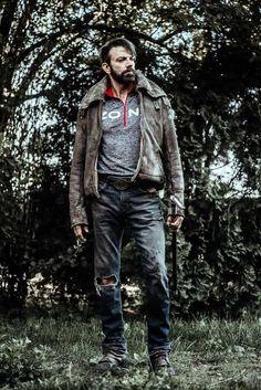 "Z Nation Keith Allan as ""Murphy"" Keith Allan, Z Nation, Season 4, Movie Tv, Beautiful People, Tv Shows, It Cast, Winter Jackets, Leather Jacket"