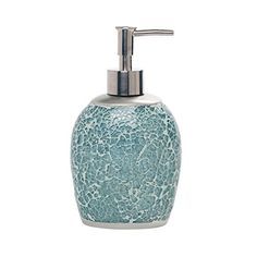 Glimmering aqua cracked glass, paired with casual curves, make up the chic and lively number 9 #floral lotion pump. Guaranteed to add #instant cheer, these soothi...