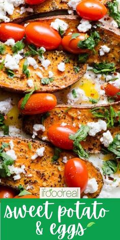 Sweet Potato and Eggs are baked with spices, tomatoes and feta cheese for an easy healthy one pan dinner recipe. One Pan Dinner Recipes, Brunch Recipes, Fall Recipes, Real Food Recipes, Healthy Breakfast Recipes, Clean Eating Recipes, Healthy Recipes, Savory Breakfast, Potato And Egg Recipe