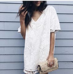 ~~LOVE this white boho dress. SPRING AND SUMMER TRENDS. Try STITCH FIX today and get looks just like these delivered right to your door--handpicked for you by your own personal stylist. Stitch fix dress. Stitch fix summer 2017 #affiliatelink
