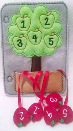 CHRISTMAS in JULY SALE Felt counting apple by itsthesmallthings