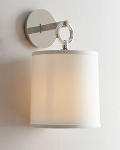 French Cuff Polished-Nickel Sconce by Visual Comfort at Horchow. Modern Wall Sconces, Candle Wall Sconces, Wall Lamps, Sconce Lighting, Home Lighting, Lighting Design, Lighting Ideas, Stair Lighting, Circa Lighting