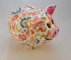 Decoupaged Decopatch Ceramic Piggie Bank Money ... - Folksy