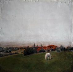 #Original #Abstract #Painting #Encaustic #MixedMedia #Horse #Art #Wax #Tuscany #Italy #Landscape #Scenery