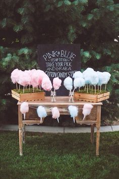 Blue and pink candy floss looks great and allows people to guess the gender at the same time.