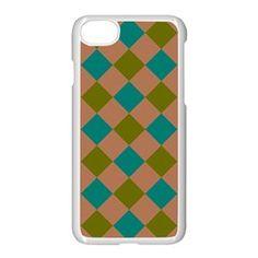 Plaid Box Brown Blue Apple iPhone 7 Seamless Case (White) by Jojostore