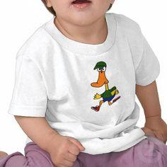 Funny Duck Jogging Design Tshirt #ducks #jogging #funny #birds #animals #art #shirts #babygift #zazzle #petspower