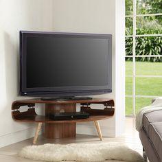 Marin Corner TV Stand In Walnut And Solid Ash Spindle Shape Legs - Corner TV Stands, Modern, Glass, Oak, Furnitureinfashion UK