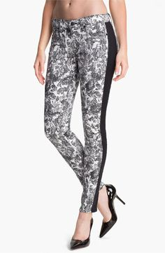 7 For All Mankind® 'The Skinny' Print Tuxedo Jeans (Etched Floral) available at #Nordstrom