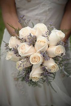 White roses with lavender accent
