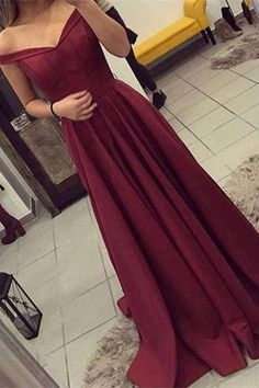 Elegant Pretty Red Long Lace Up Satin Off The Shoulder Prom Dresses Z0368
