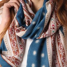 Ladies' Teal tribal print scarf, by Style Slice, features a bold ethnic mix of boho patterns. Elegant spring or summer shawl that can be personalised with a charm or a monogram. Suitable as a gift for anniversary, birthday or any day in which to tell the woman in your life, be it a Mum, Wife, Sister or Girlfriend, that she is special. #scarf #shawl #wrap #scarves #fashion #vintage #handmade #acessories #etsy #gift #paradise #paisley #headwrap #ootd #tribal