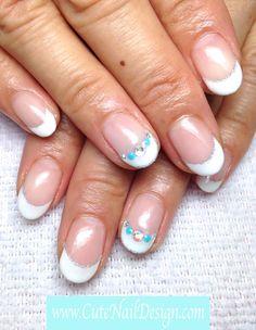 White French x Turquoise - www.CuteNailDesign.com Japanese Nail Design, Japanese Nails, Cute Nail Designs, Cute Nails, Turquoise, French, Hair Styles, Beauty, Pretty Nails