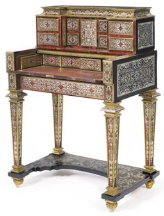 A Flemish Baroque tortoiseshell, brass, copper and pewter-inlaid brass-mounted rosewood and ebony desk, circle of Henri van Soest first quarter 18th century