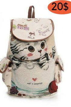 Bags - 2018 Cute Cat Canvas Women s Backpack 93941e891d43b
