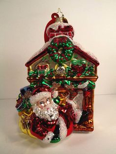christopher radko 2007 le santa fireplace mantle ornament 14501500 hang tag