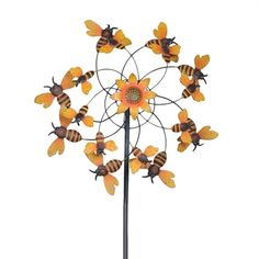 Sunjoy 110309047 Bumblebee Kinetic Wind Catcher Garden Stake