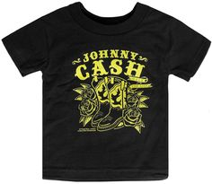 """SOURPUSS JOHNNY CASH WALK THE LINE KIDS TEE Get your lil' cowboy or girl in our Johnny Cash Walk the Line Kids Tee! This short sleeve, black tee has a bright yellow, western-inspired print of boots, roses, """"Johnny Cash"""" and """"Walk the Line"""" in a banner. $25.00"""
