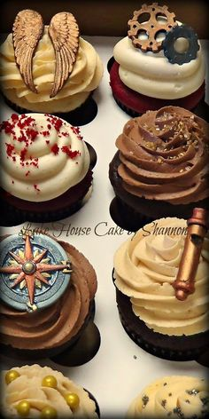 Steampunk steam punk cupcakes wings whistle compass gold silver bronze copper wedding Lake House Cake by Shannon Mini Cakes, Cupcake Cakes, Steampunk Wedding Cake, Chocolates, House Cake, Wedding Cupcakes, Let Them Eat Cake, Snacks, Sweet 16