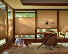 Stunningly smart, impressively energy efficient, remarkably convenient, and comfortably safe for children and pets. Duette® honeycomb shades with LiteRise® cordless lifting system. ♦ Hunter Douglas window treatments #HomeOffice
