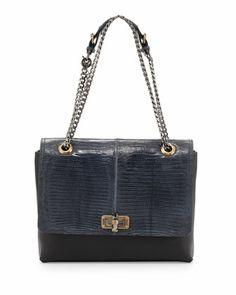 Happy+Medium+Lizard-Flap+Bag,+Blue+by+Lanvin+at+Bergdorf+Goodman.