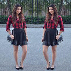 Swaychic Plaid Button Up Shirt Blouse, Swaychic Pu Leather Skater Skirt, Ebay Studded Bag, Bamboo Flats