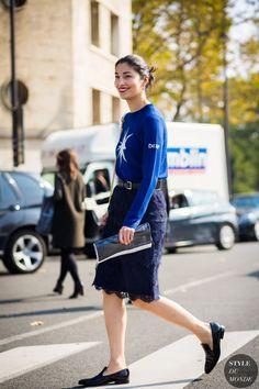 Caroline Issa fall Nordstrom Signature lace skirt -Street Style Street Fashion Streetsnaps by STYLEDUMONDE Street Style Fashion Photography