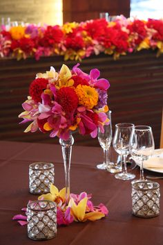 dahlia and orchid - meh arrangements but the color scheme is nice