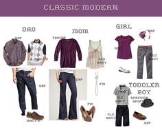 family pictures wearing navy blue   Colors: Purple (plum), brown, grey