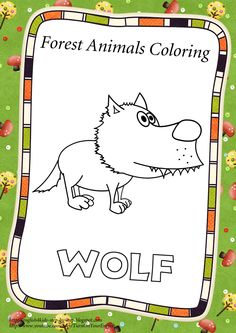 Wolf. Find more at http://english4kids-step-by-step.blogspot.com/2013/03/forest-animals-coloring-pages-and.html  #animals #forestanimals #coloring #kids